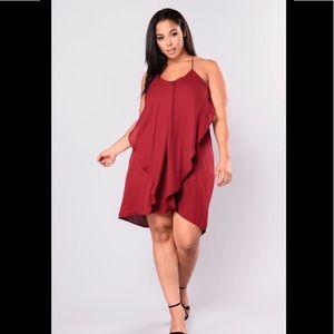 Fashion Nova  Rufflin Around Dress Burgundy